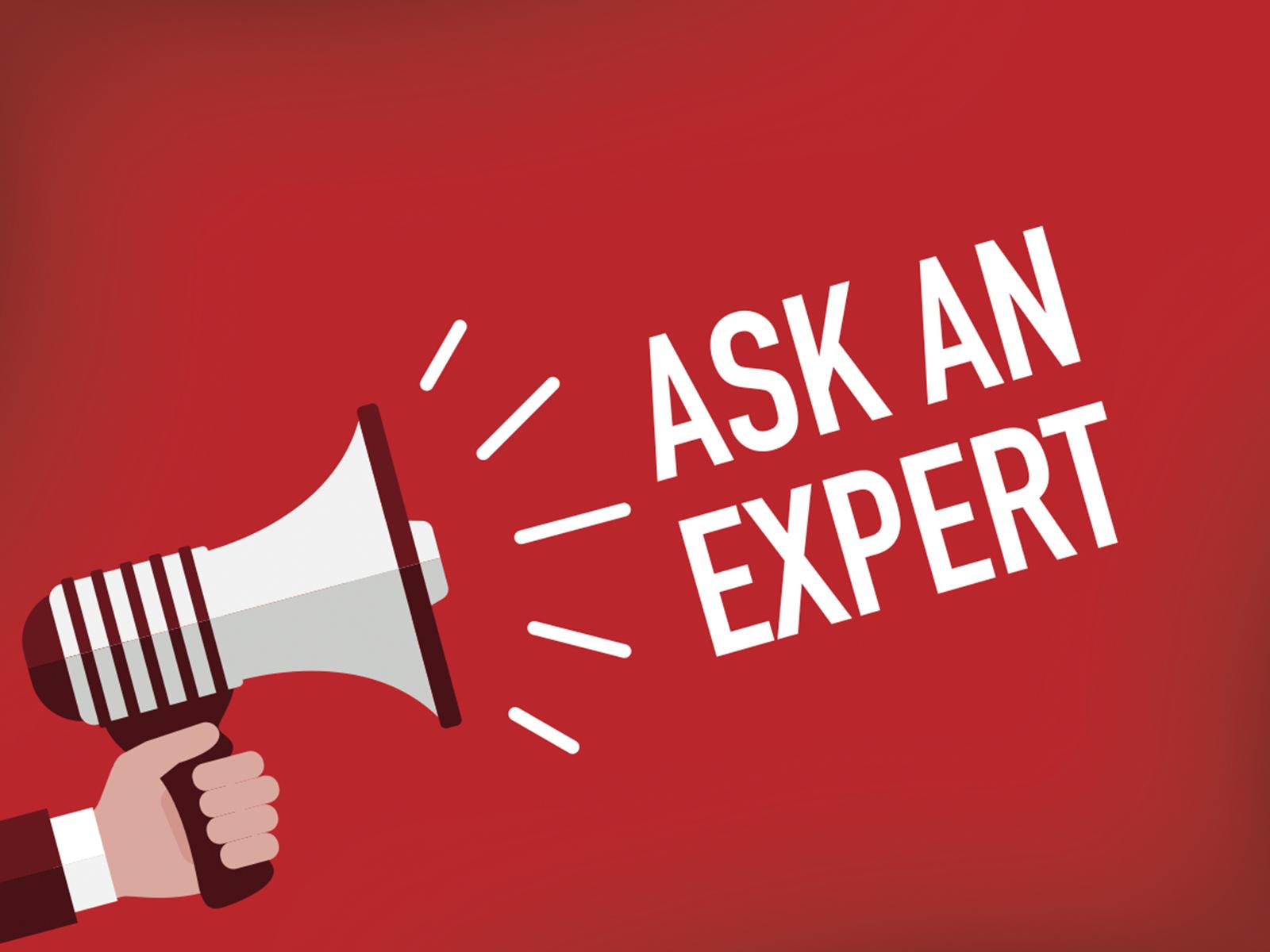 Lautsprecher mit dem Ausruf Ask an Expert
