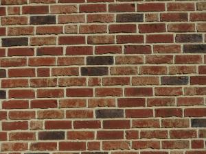 Klinkermauerwerk mit weißen Fugen, Verblendung , Fassade,ackstein
