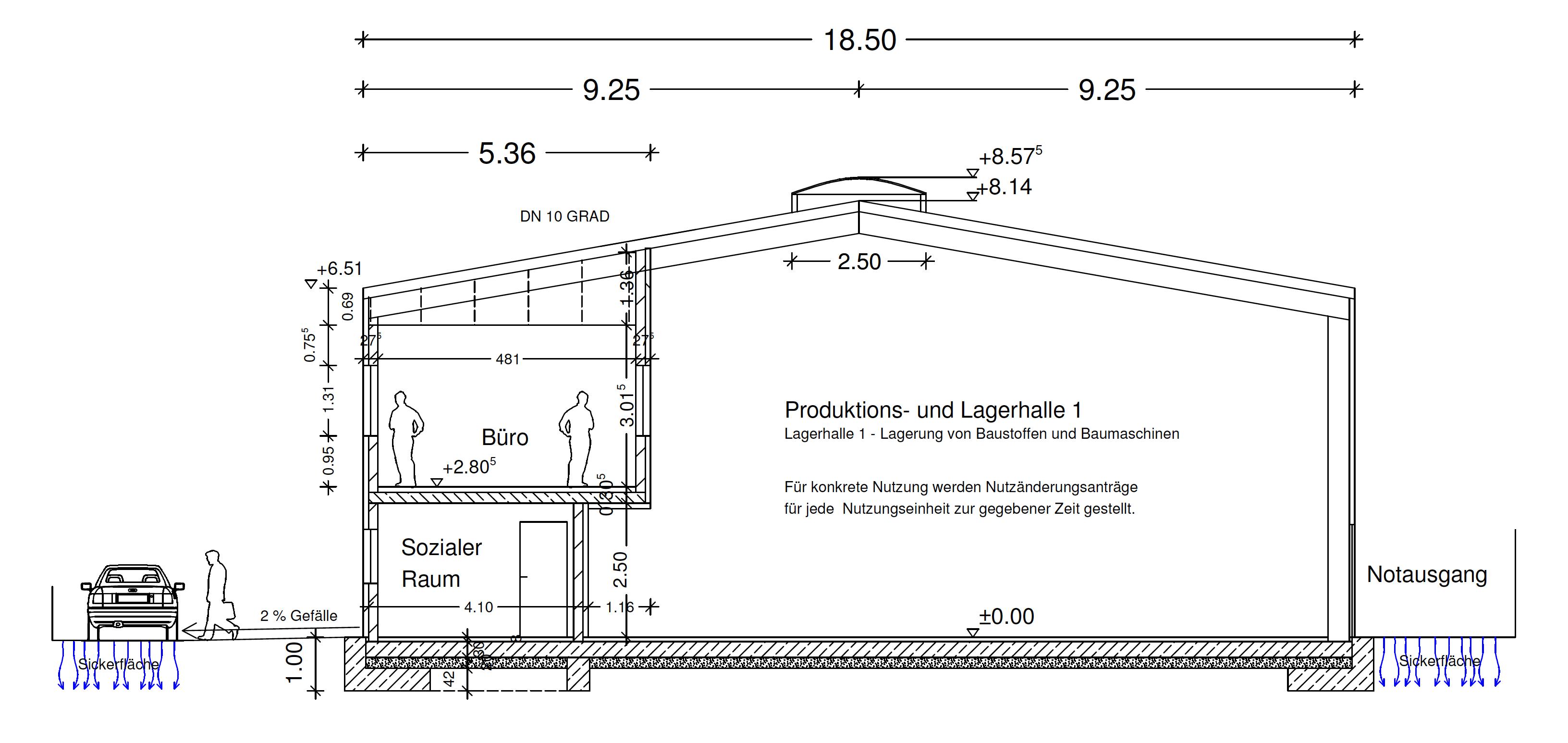 Skizze einer Produktions- und Lagerhalle